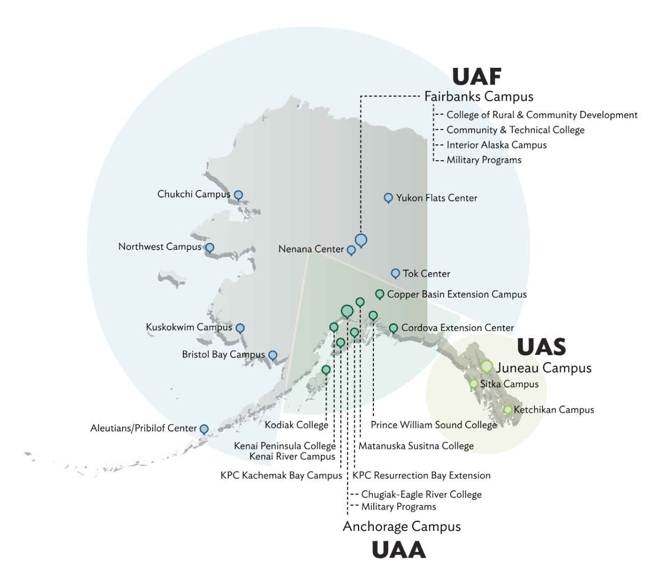 Map of UA campuses