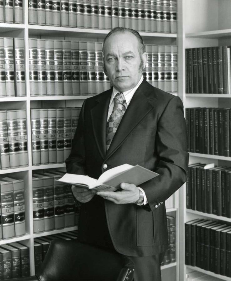 Roy Madsen in his Kodiak law office, circa 1970. Photo Courtesy of:  Roy Madsen Joint Archives of the Alaska Court System and the Alaska Bar Association