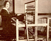 Lydia Fohn-Hanson demonstrates a loom during the early years of extension work in Alaska. Photo: CES Archives