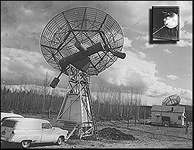 The first American sighting of Sputnik 1 (inset photo) at Ballaine Lake Mini-Tracking Station University of Alaska in Fairbanks. Photo: Geophysical Institute