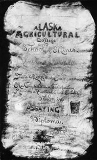 Copy of one of the certificates handed out upon completion of an Alaska Agricultural College and School of Mines' short course. Photo: University of Alaska Archives, LarVern Keys Collection