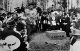 Cornerstone-laying ceremony on July 4, 1915. Photo: University of Alaska Fairbanks Rasmuson Library Archives, Charles Bunnell Collection