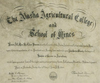 The first diploma handed out by the Alaska Agricultural College and School of Mines to John Shanly. Photo: UA Public Affairs files