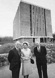 Terris Moore and his wife, Katrina, at the dedication ceremony of Moore Hall. Photo: UAF Archives, Alumni Services Collection 83-107-62