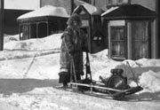 Clara Ernst on a Snow Mobile.