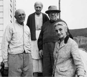 Phograph of four pioneers in Big Delta. Robert and Jessie are the couple on the right. Photo: UAF Rasmuson Libary, Historical Photograph Collection