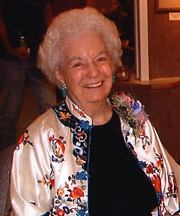 Helen Atkinson at the opening for her watercolor show in New Horizons Gallery in May 2005.