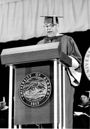 Robert McFarland accepting his honorary degree in 1977. Photo: BOR file
